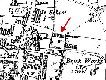 Map of 1905 showing location of destroyed cottages
