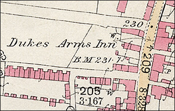 1886 Ordnance Survey map of Piggot's Lane and Duke Street