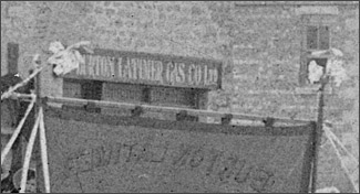 Close-up of Gas Company office's sign