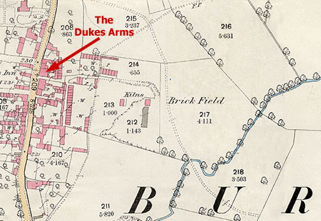 Location of Brickyard 1886 in relation to the Dukes Arms. This is the only known map showing the brickyard.