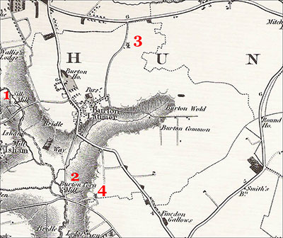 The location of the four mills in Burton Latimer, as seen on the Bryant map of 1826