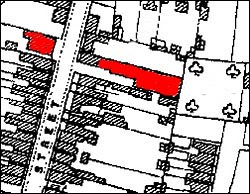 Marked in red are the factory and band room opposite.