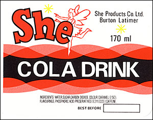 "Picture of the She""Cola Drink"" bottle label."