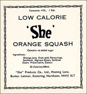 "Picture of the She ""Orange Squash"" bottle label."