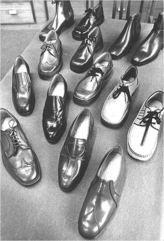 Photograph showing sample shoes ready for exhibition