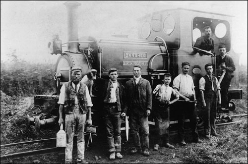 Workers and locomotive