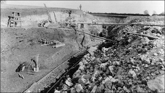 Burton Ironstone Quarries - plank and barrow method for carrying ore