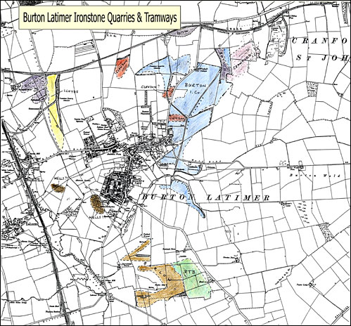 Map showing the location of various ironstone mining operations around Burton Latimer