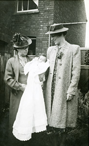 Annie Potter with her granddaughter Celia at the christening, 1940