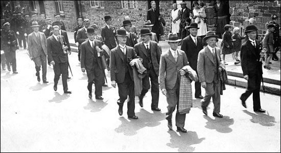 Photograph of Mr Walter Summerfield (nearest camera) leading the Hospital Parade in 1933