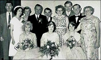 Photo showing Burton Latimer Charities Fund Gala Committee and Queen in 1960 showing Mr A Sellaars, Iris Sharman, Mrs Rickards, Alf Caffrey, Frank Wright, Mrs Villette, David Mayes, Albert Morby, Mrs Millie Saddingtoni