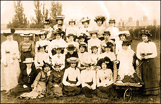 Photograph of Miss Annn Preston's Bible Class, Circa 1900 taken in Preston's Paddock.  Joan's mother, Grace Capps, 2nd left back row