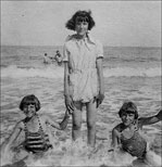 Photograph of Joan and twins at Mablethorpe
