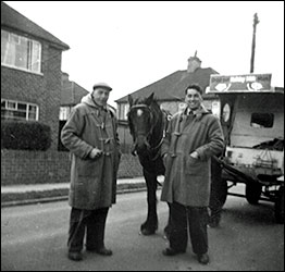 Walt and John Meads in Eady Road with milk float in the '50s