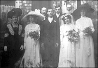 Photograph of Oliver Tailby (right of groom) at the marriage of Albert Palmer and Florence Ellen Tailby 1912