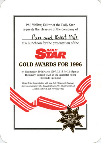 Picture of invitation to Daily Star Gold Awards