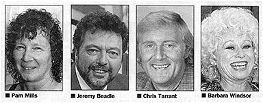 Photographs of Pam Mills plus show-biz stars Jeremy Beadle, Chris Tarrant, Barbara Windsor