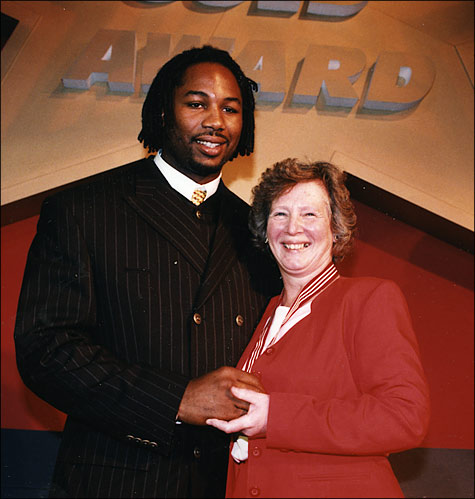 Pam Mills with Lennox Lewis