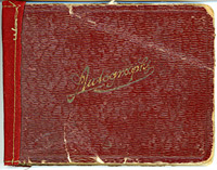 The cover of the autograph book signed by so many Empire soldiers in the First World War