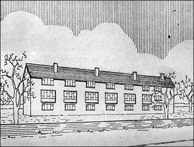Architect's drawing of proposed flats for Croxen's Yard, 1957.