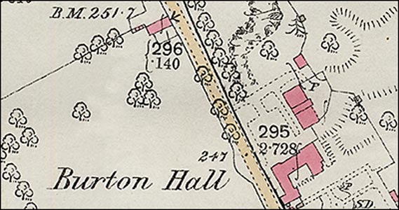 Map showing position of The Hall and surroundings
