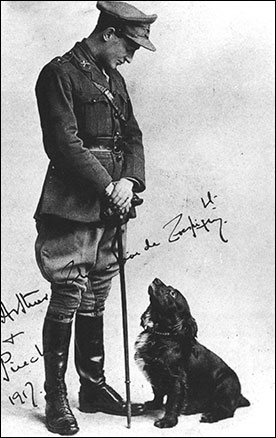 Photograph of Lt Arthur de Crespigny, the only son of the family with his dog, Pincher