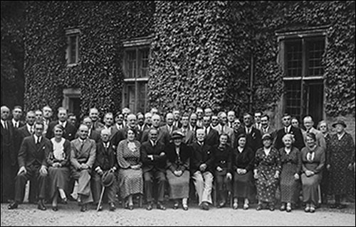 Photograph taken at The Hall of a supper party for church organisations 1935
