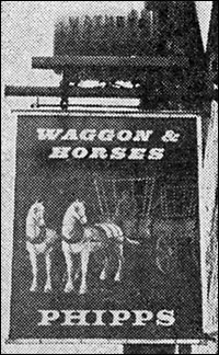 The Waggon & Horses public house sign.