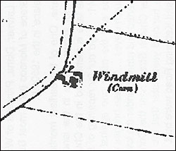 Map showing the group of buildings at the windmill C1837