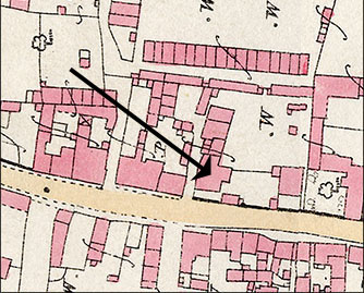 Part of an 1886 Ordnance Survey Map indicating the place occupied by The Band Club.