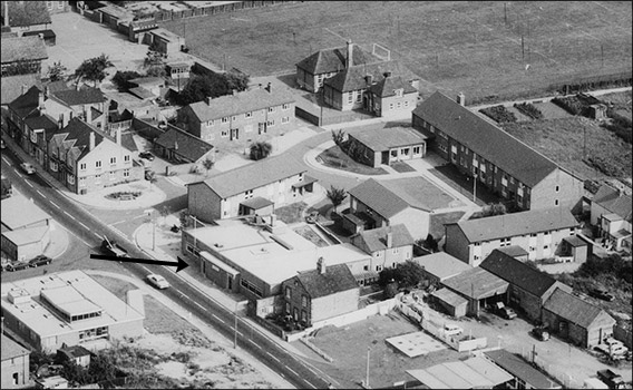 1971 aerial photograph showing the new premises occupied by The Band Club.
