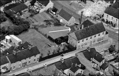 Aerial photograph of The Britannia Working Men's Club taken in 1950 showing The Salvation Army's hut.