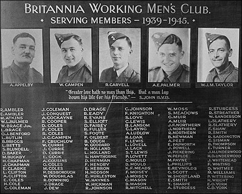 Photograph of World War 2 commemoration board still on display in The Britannia Club.
