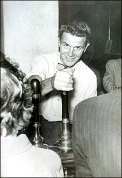 "Photograph of Ron ""Dot"" Johnson, pulling pints at the Duke."