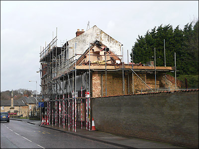 The demolition of the former Red Cow in January 2009