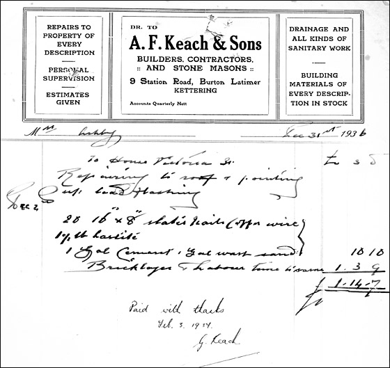 Invoice from Alfred Keach, Buildres, Contractors & Stone Masons