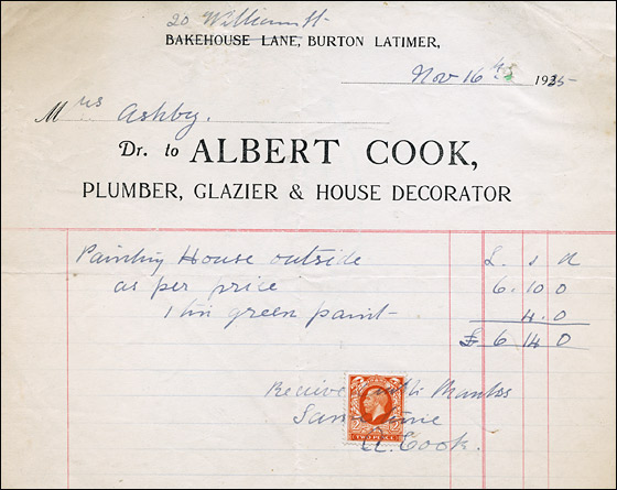 Invoice from Albert Cook, Plumber, Glazier & House Decorator
