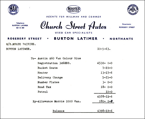 Invoice from Church Street Autos
