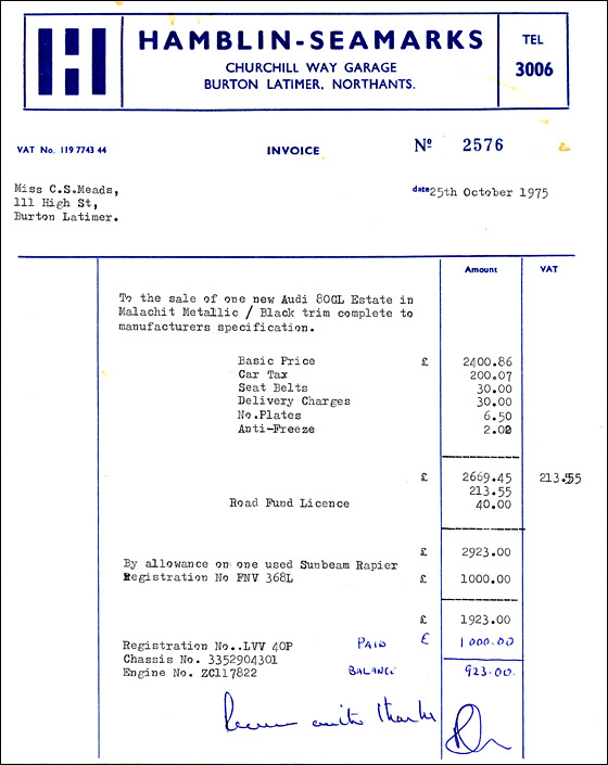 Invoice from Hamblin-Seamarks Garage in Churchill Way