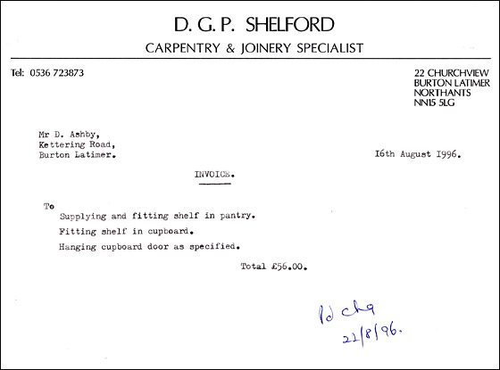 Invoice from DGP Shelford, Carpentry & Joinery