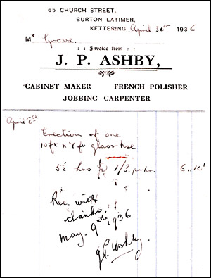 Invoice from J P Ashby, Carpenter and Cabinet Maker in Church Street