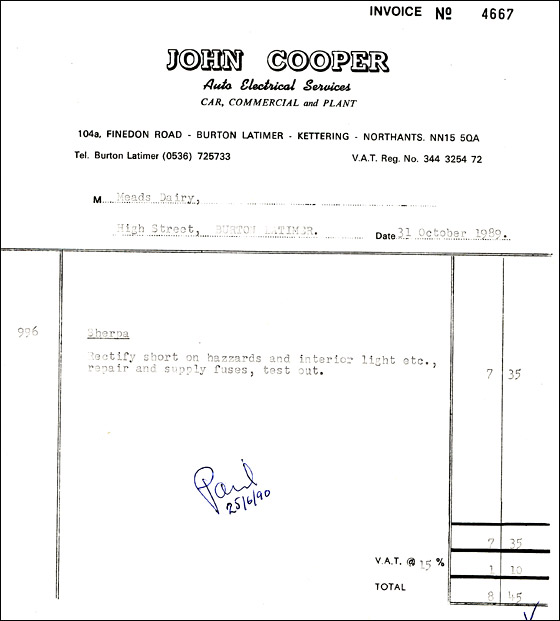 Invoice from John Cooper - Auto Electrician