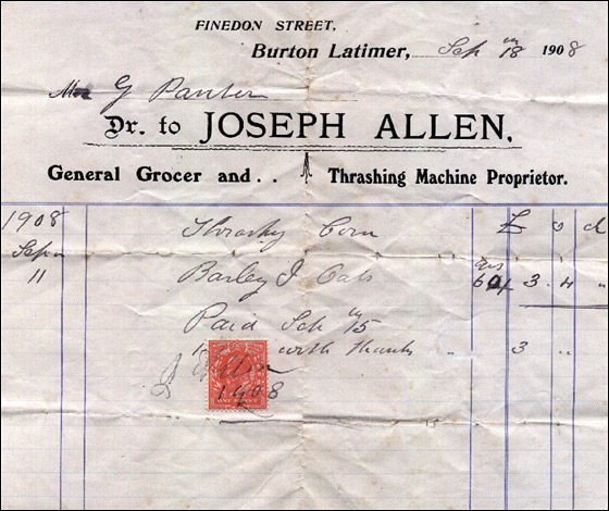 Invoice from Joseph Allen - Grocer & Thrashing Machine Proprietor