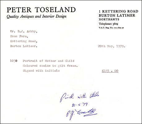 Invoice from Peter Toseland, Antiques & Interior Design