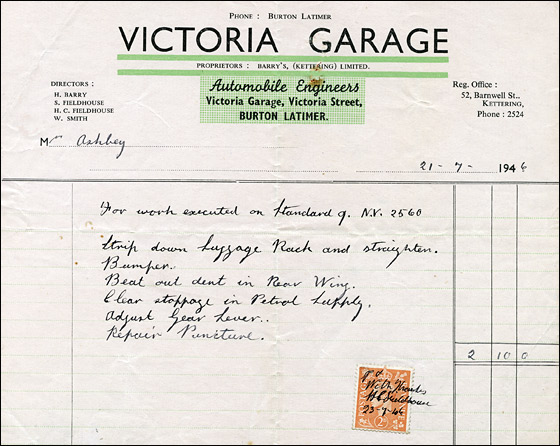 Invoice from Victoria Garage