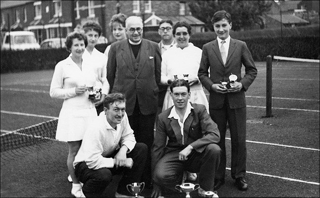 St Mary's Tennis Team at Burton LAtimer recreatiuon Ground courts, sometime in the 1950s