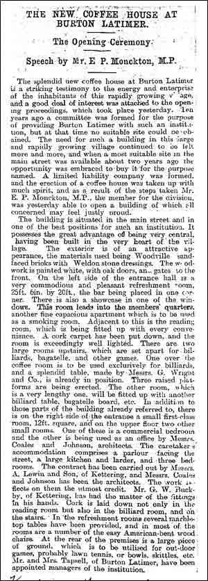 Extract from The Wellingborough News March 1898