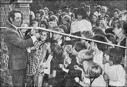 Photograph of Cllr John Meads, Chairman of the Council opening the adventure playground in 1973