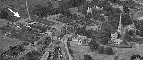 Preston Hall, shown in an aerial view of the town taken in 1923.  This is one of the very few images of the Hall in its complete state