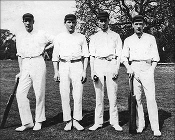 "Four prominent cricketers from the last century - 1904. Billy Mould, Max Reed, Joe Mason, Harry ""Topper"" Reed"